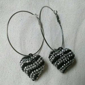 Jewelry - Large Hoop Earrings With Silver/Black Hearts
